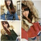 Women Autumn Winter Thick Fleece Faux Fur Hooded Outwear Jacket Parka Coat