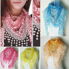 Autumn Summer Womens Embroidery Rose Lace Triangle Pendant Scarf Shawl Wraps Hot