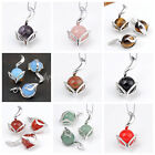 Quartz/Agate/Ametyst/Opal Natural Gemstone Bead Fox Pendant For Necklace DIY