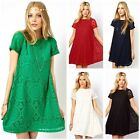 Women Cute Lace Hollow Out Short Sleeve Casual Party Mini Tunic Swing Dress Top