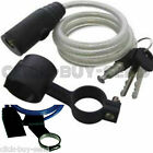 BIKE BICYCLE CYCLE SPIRAL CABLE LOCK STEEL SECURITY CHAIN 2 KEYS BRACKET NEW