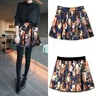 Women Sexy Summer Empire Waist Floral Print Ball Gown Pleated Short Mini Skirt