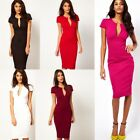 Women Office Career Party Plunge V-Neck Pocket Slim Midi Pencil Bodycon Dress