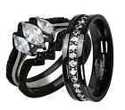 His Hers 4 Piece Wedding Ring Set CZ Black IP Stainless Steel & Titanium SiTi-LP