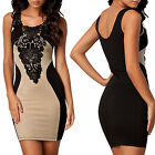 Womens Black & Beige Floral Lace Contrast Midi Pencil Vest Casual Dress UK 8 -16