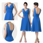 Blue Midi STOCK~Chiffon Bridesmaid Formal Gown Party Cocktail Evening Prom Dress