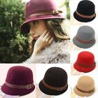 Vintage Women's Fall Bowler Derby Dome Bucket Hat Headwear with Buckle and Belt