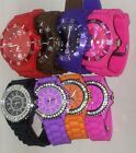 5 X UNISEX  SILICONE SPORTS WRIST WATCH COLOURS BLING CRYSTAL GENEVA JOBLOT
