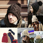 Unisex Men Warm Cable-Knit Ski beanie Winter Hat with Pompom Rib-knit Edge Cap A