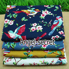 MAT46 Chinese style vintage flower bird Linen Cotton painting fabric DIY 56""