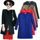Women's Winter Wool Blend Round Collar Long Trench Coats Jacket Cardigan Tops