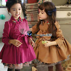 Autumn Baby Kids Girls Child Double-breasted Diamond Collar Coat Jackets 4-9Y