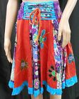 RISING INTERNATIONAL NEPAL Handmade SKIRT Multi-Color Patchwork FLOWER APPLIQUE