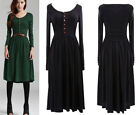 Vintage Women's Fall Winter Long Sleeve Knitting Slim Long Dresses Top With Belt