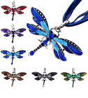 Exquisite Retro Dragonfly Flossy Necklace Chain Rhinestone Inlay Gemtone Pendant