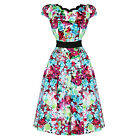 H & R london sexy Floral SCALOP dress Vintage 1950s Party Prom pinup 9167
