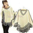New Charm Women Batwing Sleeve Cloak Sweater Poncho Tassels Hem Knit Coats US LA