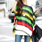 Sexy Women Fashion Dolman Sleeve Tops Bohemian Oversize Chiffon Blouse T Shirt