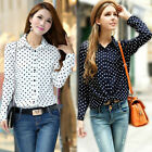 New S-XXL White Navy Women Shirt Polka Dots Chiffon Vintage Blouse Long Sleeve Z