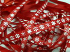 Christmas Grosgrain Ribbon Bertie`s Bows White Snow Flake on Red 9mm BTB051