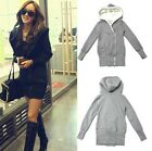 New Women Hooded Top Jumper Sweater Sweatshirt Coat Jacket Outwear Black Grey Z