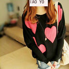 Hot sale Womens Batwing Patchwork Sleeve Love Pattern Jumper Sweaters UKEW