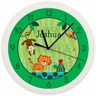 RAIN FOREST JUNGLE WALL CLOCK NURSERY SAFARI PERSONALIZED BOYS BABY SHOWER GIFT