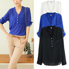 Womens Sexy V-neck Loose Chiffon Long Sleeve Casual Elegant T-Shirt Blouse Tops