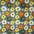 FFA-122 FLOWERS ON GRAY COTTON LINEN CANVAS FABRIC BY 0.5 Yard