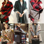 Women Plaid Scarf Wrap Cozy Checked Blanket Oversized Tartan Shawl Pashmina hot