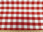 "Discount Twill Tablecloth Fabric Red and White Check 62"" wide 18DR"