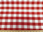 "Payless Twill Tablecloth Fabric Red and White Check 62"" wide"