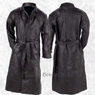 Mens Black Genuine Leather Trench Coat Full Length Duster Lined Button Front