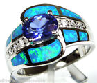 Tanzanite & Blue Fire Opal Inlay 925 Sterling Silver Solitaire Ring size 6 - 9
