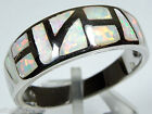 White Fire Opal Inlay Solid 925 Sterling Silver Band Ring size 6, 7.5, 8, 9