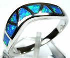 High Quality Blue Fire Opal Inlay Solid 925 Sterling Silver Band Ring sz 6 or 8