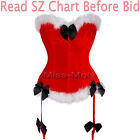 Sexy Lace Up Overbust Chirstmas Xmas Corset Bustier Boby Shaper Lingerie S-6X H2