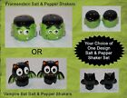 NEW KITCHEN MINIATURE FRANKENSTEIN OR VAMPIRE BAT SALT & PEPPER SHAKERS SHAKER