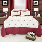 3 Piece Embroidered Quilt Blanket Bed Spread Color Choice Full Queen Size image