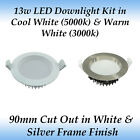 13w Dimmable LED Recessed Downlight Kit in Warm White or Cool White LED
