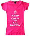 Keep calm and eat a bacon pink women junior graphic t-shirt