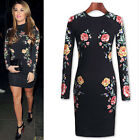 Vintage Celebrity Woman Bodycon Cocktail Evening Party Floral Club Pencil Dress