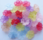 15 grams Approx 30 FROSTED ACRYLIC/LUCITE FLOWER BEADS 16mm Random Mixed Colours