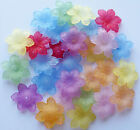 15 grams Approx 30 FROSTED ACRYLIC/LUCITE FLOWER BEADS 21mm Random Mixed Colours