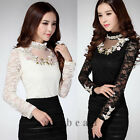New Elegant Ladies Womens Solid Floral Lace Shirt Korean Fashion Tops Blouse