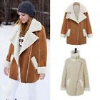 Women's Winter Warm Pocket Zip Long Sleeve Fleece Suede Jacket Coat Outwear