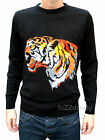 Tiger print 80's mens jumper vtg indie retro animal punk Rock 70's black NEW