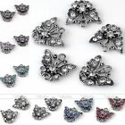 5x Side Ways Crystal Silver Plated Butterfly Bracelet Connector Jewelry Finding