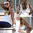 Women's Leopard Long Sleeve Loose T-Shirts Round Neck Blouses Sweatshirts Tops