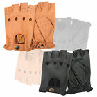 Fingerless Driving Gloves Mens Motorbike Chauffeur Fashion Style 310 Black Tan